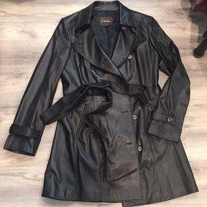 COLE HAAN long leather coat jacket